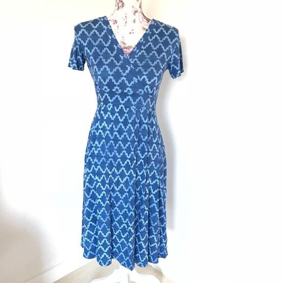 d54e0aa6996f L.L. Bean Dresses   Llbean Summer Knit Dress In Deep Blue Print ...
